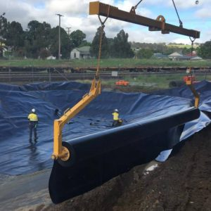 relining and cleaning dam for newcrest de-watering plant